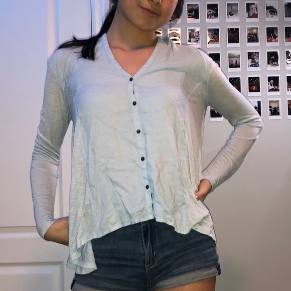 Lucky Brand Blue Buttoned Blouse